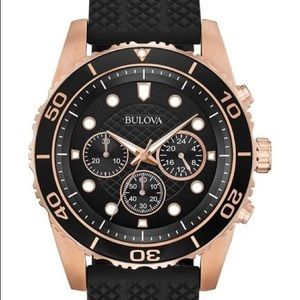 Bulova Men's Chronograph Quartz BlackSiliconeStrap